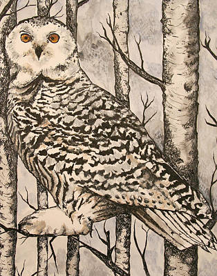 Fun New Art Painting - Owl by Monica Warhol