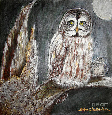 Owl Mother Art Print by Elena  Constantinescu