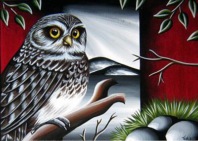 Black And White Owl Painting - Owl by Natasha Shackleton