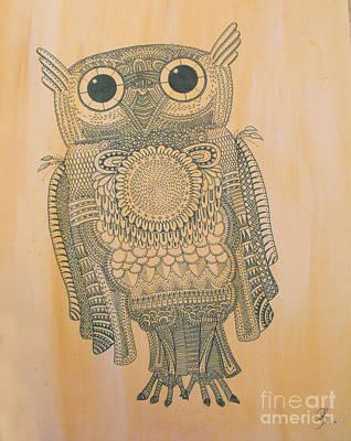 Tempera Mixed Media - Owl by Olga Zsuzsanna Petrovits