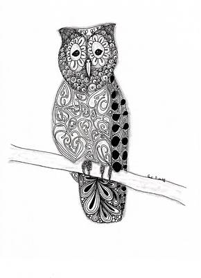 Pen And Ink Drawing Drawing - Owl On A Branch by Paula Dickerhoff
