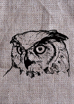 Digital Art - Owl On Burlap by Konni Jensen