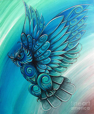 Painting - Owl By New Zealand Artist Reina Cottier by Reina Cottier