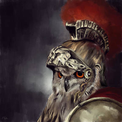 Protector Painting - Owl Roman Warrior by Lourry Legarde