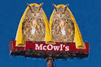 Photograph - Owl Sign by Les Palenik