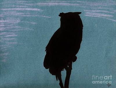 Art Print featuring the drawing Owl Silhouette by D Hackett