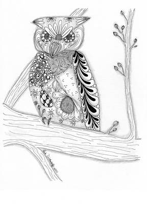 Pen And Ink Drawing Drawing - Owl Sittin Pretty by Paula Dickerhoff