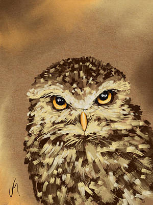 Owl Portrait Painting - Owl by Veronica Minozzi
