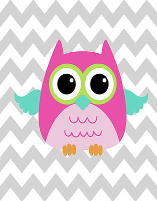 Owl Wash Brush Chevron II Art Print
