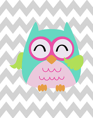 Owl Wash Brush Chevron Art Print