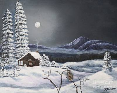 Snowy Night Painting - Owl Watch On A Cold Winter's Night Original  by Kimberlee Baxter