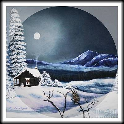 Owl Watch On A Cold Winter's Night In The Round  Art Print