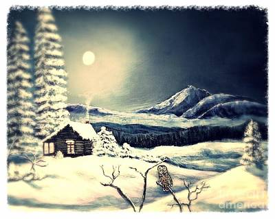 Owl Watch On A Cold Winter's Night Art Print