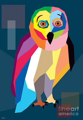 Humor Digital Art - Owl Wpap  by Mark Ashkenazi