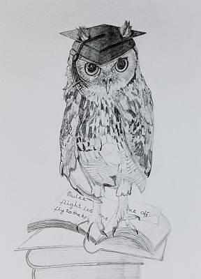 Graduation Gifts Drawing - Owl Pencil Sketch Of Owlee by Lisa Straker