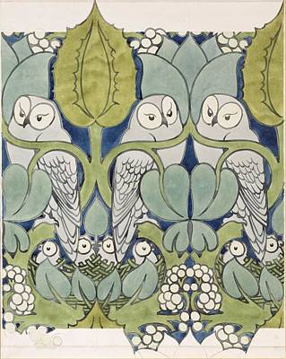 Birds Of Prey Drawing - Owls, 1913 by Charles Francis Annesley Voysey