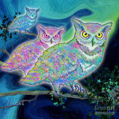 Art Print featuring the painting Owls At Midnight  Square by Teresa Ascone