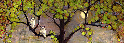 Branches Painting - Owls Sitting In The Moonlight by Blenda Studio