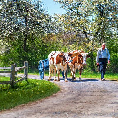 Photograph - Ox Cart And Farmer II by Chris Bordeleau