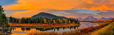 Photograph - Oxbow Bend Dawn Panorama by Greg Norrell