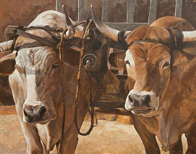 Oxen With Yoke Art Print by Anke Classen