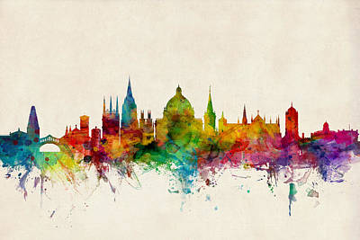 Harvard Digital Art - Oxford England Skyline by Michael Tompsett