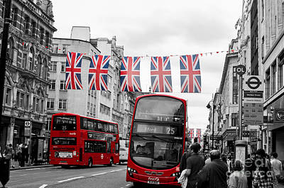 Photograph - Oxford Street Flags by Matt Malloy