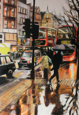 City Painting - Oxford Street Rain by Paul Mitchell