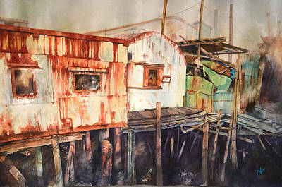 Stilt House Painting - Oxidation Time by Perry Chow