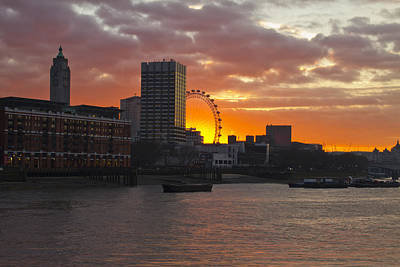 Photograph - Oxo Tower London Eye Sunset by David French