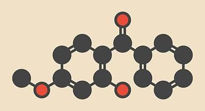 Ro Photograph - Oxybenzone Sunscreen Molecule by Molekuul