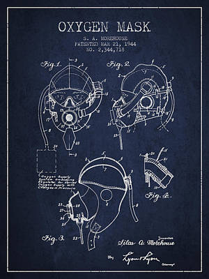 Oxygen Mask Patent From 1944 - Navy Blue Art Print by Aged Pixel