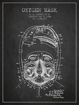 Oxygen Mask Patent From 1944 - One - Charcoal Art Print by Aged Pixel