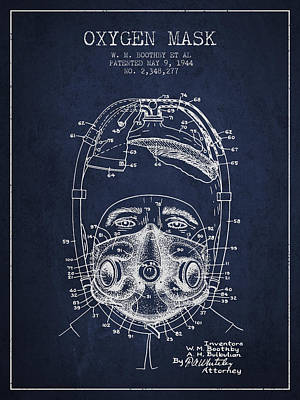 Oxygen Mask Patent From 1944 - One - Navy Blue Art Print by Aged Pixel