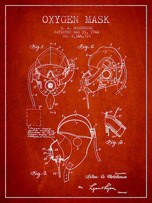 Oxygen Mask Patent From 1944 - Red Art Print by Aged Pixel