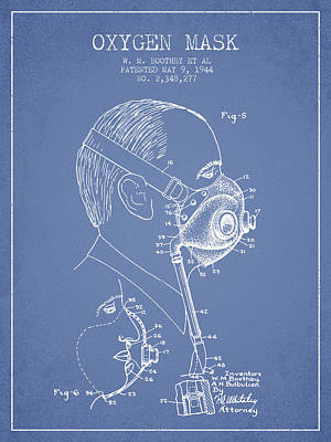 Oxygen Wall Art - Digital Art - Oxygen Mask Patent From 1944 - Three - Light Blue by Aged Pixel