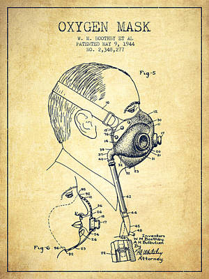 Oxygen Mask Patent From 1944 - Three - Vintage Art Print by Aged Pixel
