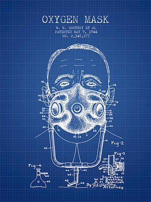 Oxygen Mask Patent From 1944 - Two - Blueprint Art Print by Aged Pixel