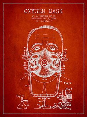 Oxygen Mask Patent From 1944 - Two - Red Art Print by Aged Pixel