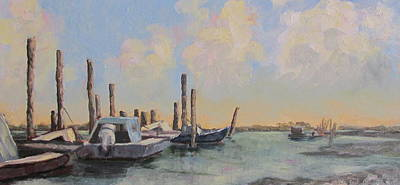 Oyster Boat Evening Original by Susan Richardson