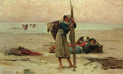 Oyster Painting - Oyster Catching by Pierre Celestin Billet