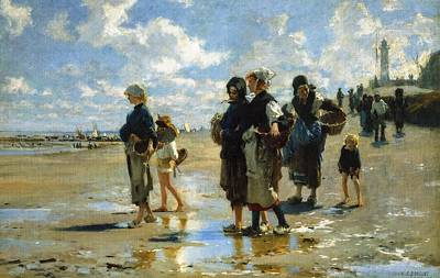 1878 Digital Art - Oyster Gatherers Of Cancale by John Singer Sargent
