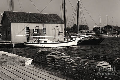 Oyster Sloop At The Dock Art Print by George Oze