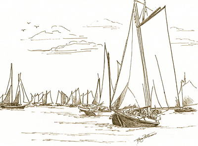 Drawing - Oystering On The Bay by Nancy Patterson