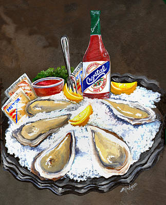 Oysters On Ice Art Print by Elaine Hodges