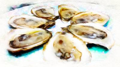 Oysters On The Half Art Print by Barbara Chichester