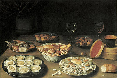Glass Of Wine Painting - Oysters With Five Dishes Of Delicacies And Two Wine Glasses by Osias Beert the Elder