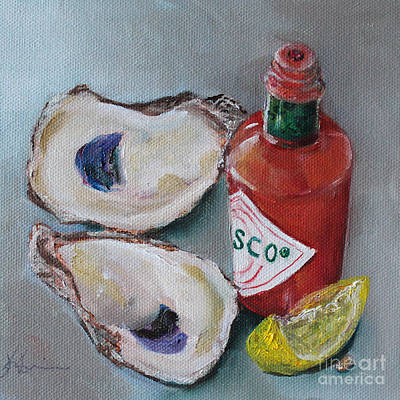 Oysters Painting - Oysters With Tabasco And Lemon by Kristine Kainer
