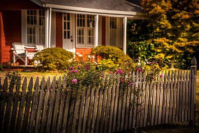 Anne Geddes - Oysterville fence with Roses by Mike Penney