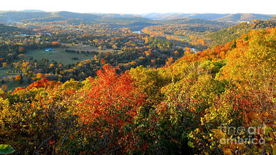 Ozark Autumn White River Valley - Arkansas/missouri Line Art Print by Gerald MacLennon